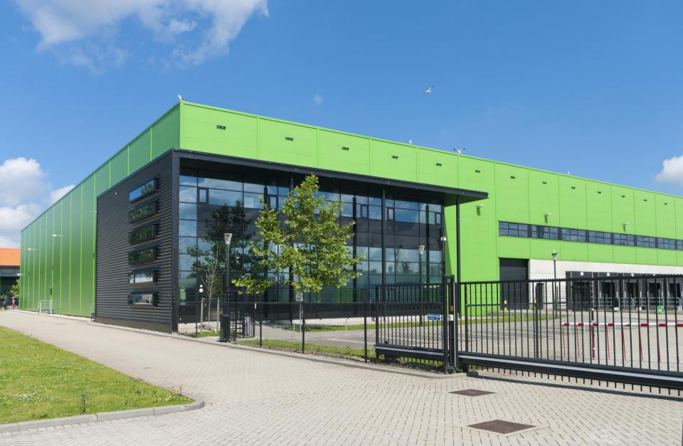 Commercial building with green metal exterior